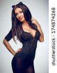 beautiful brunette posing in... | Shutterstock . vector #174874268