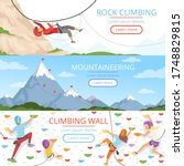 Mountain climbing pictures. Rope carabiner helmet rockie hills people extreme sport banners template with place for text
