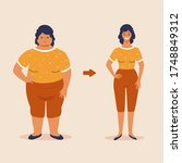 fat and slim woman  before and... | Shutterstock .eps vector #1748849312