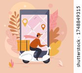 delivery man  order food online ... | Shutterstock .eps vector #1748849315