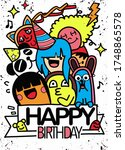 doodle birthday party... | Shutterstock .eps vector #1748865578