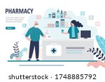 doctor pharmacist and old man... | Shutterstock .eps vector #1748885792