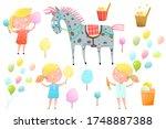 cute little girls at fair with... | Shutterstock .eps vector #1748887388