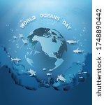illustration of wildlife under... | Shutterstock .eps vector #1748890442