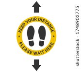 "the sticker on the floor ""keep...   Shutterstock .eps vector #1748902775"
