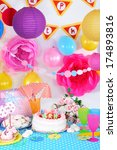 festive table setting for... | Shutterstock . vector #174893816