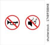 traffic road sign no horn in... | Shutterstock .eps vector #1748958848