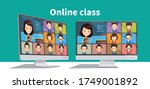 online students lesson or... | Shutterstock .eps vector #1749001892