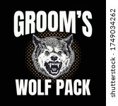 bachelor party grooms wolf pack    Shutterstock .eps vector #1749034262