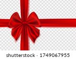 realistic red bow and... | Shutterstock .eps vector #1749067955