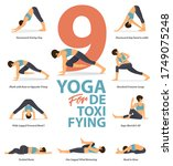 infographic of 9 yoga poses for ... | Shutterstock .eps vector #1749075248