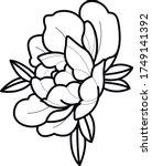 peony flower art work tattoo...   Shutterstock .eps vector #1749141392