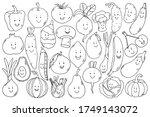 cute black outline vegetarian... | Shutterstock .eps vector #1749143072