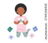 little girl palying with... | Shutterstock .eps vector #1749156935