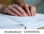 blind woman read book written... | Shutterstock . vector #174924476