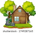 isolated cabin in the wood...   Shutterstock .eps vector #1749287165