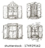 vintage window hand drawn set | Shutterstock . vector #174929162