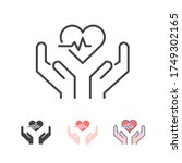 heart beat rate pulse and hand... | Shutterstock .eps vector #1749302165