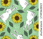 bunnies  sunflowers  hand drawn ... | Shutterstock .eps vector #1749363815