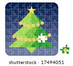 Puzzle Christmas Tree / vector illustration - stock vector