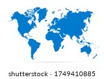 blue map world. worldmap global.... | Shutterstock .eps vector #1749410885