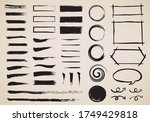 japanese style frame and brush ... | Shutterstock .eps vector #1749429818