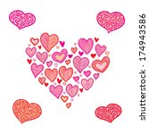 valentine's day vector hearts... | Shutterstock .eps vector #174943586