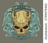 devil skull engraving and... | Shutterstock .eps vector #1749479402