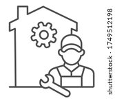 building with gear and engineer ... | Shutterstock .eps vector #1749512198