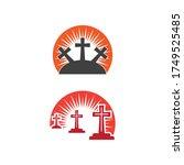 gravestone logo template vector ... | Shutterstock .eps vector #1749525485
