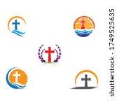 set gravestone logo template... | Shutterstock .eps vector #1749525635