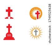 set gravestone logo template... | Shutterstock .eps vector #1749525638
