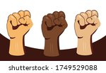 multiracial fists hands up... | Shutterstock .eps vector #1749529088