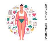 weight loss concept. vector... | Shutterstock .eps vector #1749549335