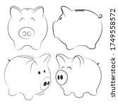 white piggy bank isolated on...   Shutterstock .eps vector #1749558572