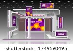 purple exhibition stand design... | Shutterstock .eps vector #1749560495