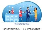 a robot in a bar serves a young ... | Shutterstock .eps vector #1749610805