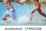 young couple in love running...   Shutterstock . vector #174962108