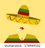 woman wearing sombrero and... | Shutterstock . vector #174969152