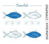 tuna cuts   blue on white | Shutterstock .eps vector #174969965