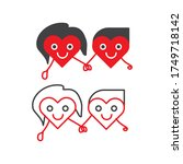 hearts couple holding hands... | Shutterstock .eps vector #1749718142