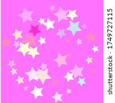 Pastel colorful stars on pinky background. Light yellow, blue, turquoise, orange, pink transparent stars confetti. Abstract mess of multicolored stars on bright pink background. Pinky childish stars. - stock photo