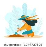 girl gardener plants a plant in ... | Shutterstock .eps vector #1749727508