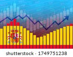3D rendering of flag of Spain on bar chart concept of economic recovery and business improving after crisis such as Covid-19 or other catastrophe as economy and businesses reopen again.