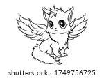 cute winged fox  sitting... | Shutterstock .eps vector #1749756725