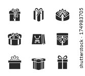gift boxes icons set with...