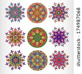 set of nine ornamental round... | Shutterstock .eps vector #174987068