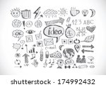 hand doodle business icon set... | Shutterstock .eps vector #174992432