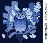 monochrome navy blue vector... | Shutterstock .eps vector #1749926018