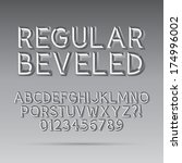 beveled outline font and digit  ... | Shutterstock .eps vector #174996002